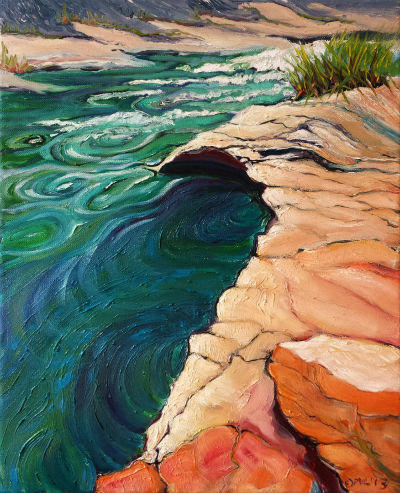 © Pam Van Londen 2013 Santiam River 3.4 oil on gallery-edged canvas on 20 x 16 x 1 canvas