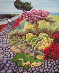 © Pam Van Londen 2007 Pismo Beach Garden acrylic on canvas on 24 x 36 x 1.5 canvas
