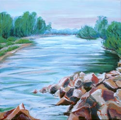 © Pam Van Londen 2007 Willamette River 1 acrylic on canvas on 12 x 12 x 1 canvas