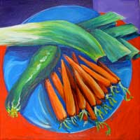 © Pam Van Londen 2007 Leek, Zuch, and Carrots acrylic on canvas on 12 x 12 x 1 canvas