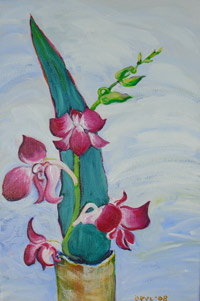 © Pam Van Londen 2009, Orchid Magenta 1, 10x16x.5 on acrylic on canvas