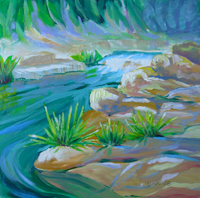 © Pam Van Londen 2008 Santiam River 10 8x8x1 in oil on clayboard