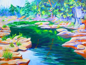 © Pam Van Londen 2008 Santiam River 6 40x30x1 in acrylic on canvas