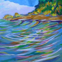 © Pam Van Londen 2008 Santiam River 8 8x8x1 in oil on clayboard