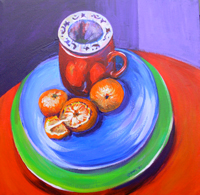 © Pam Van Londen 2007 Tea and Satsumas acrylic on canvas on 12 x 12 x 1 canvas