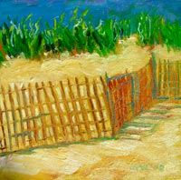 © Pam Van Londen 2008 Rehoboth Beach Landscape 8x8x1 in oil on canvasboard