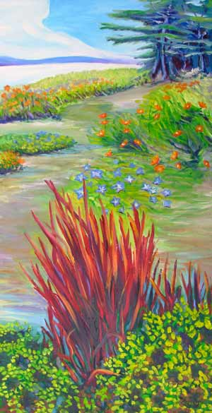 © Pam Van Londen 2007 Anecortes Beach Garden 1 oil on canvas on 18 x 36 x 1.5 canvas