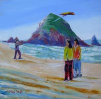 © Pam Van Londen 2008 Cannon Beach Kite Flyers 8x8x1 in oil and sand on clayboard
