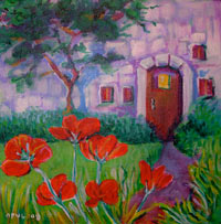 © Pam Van Londen 2007 Cottage and Poppies acrylic on canvasboard on 8 x 8 x .5 canvas