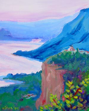 © Pam Van Londen 2007 Columbia Gorge Crown Point 1 acrylic on canvasboard on 8 x 10 x 1 canvas