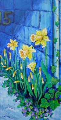 © Pam Van Londen 2007 Daffodils and Violets acrylic on canvas on 12 x 24 x 1.5 canvas