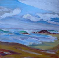 © Pam Van Londen 2008 Coast Drama, oil on 8x8-inch archival Claybord panel; unframed.