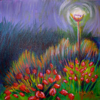 © Pam Van Londen 2007 Evening Tulips under the Lampost 1 acrylic on canvasboard on 8 x 8 x .5 canvas