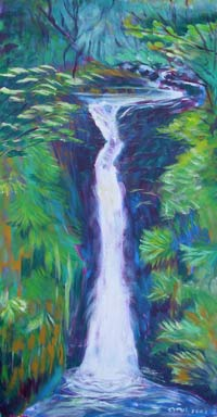 SOLD! © Pam Van Londen 2007 Columbia Gorge Oneonta Falls 1 acrylic on canvas on 12 x 24 x 1.5 canvas