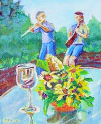 © Pam Van Londen 2007 Harvest Music Festival Gumbo, Glass, and Flowers arylic on canvasboard on 8 x 10 x 1 canvas