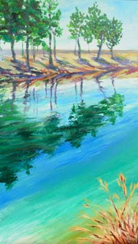 © Pam Van Londen 2007 Lake Parish 2 acrylic on canvas on 12 x 24 x 1.5 canvas