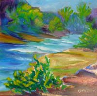 © Pam Van Londen 2008 Mary's River 3 8x8x1 in irridescent oil on gessoboard