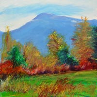 © Pam Van Londen 2008 Mary's Peak 3 Fall 8x8x1 in oil on clayboard