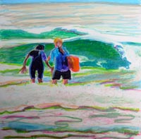 © Pam Van Londen 2008 Maya and Claire Surfing 8x8x1 in oil pastel on clayboard