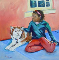 © Pam Van Londen 2008 Maya and a Husky.   Oil on 8x8-inch archival Claybord panel. Unframed. Purchase frame separately.