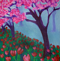 SOLD! ©  Pam Van Londen 2007 Morning Tulips  8x8 acrylic on canvasboard