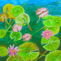 © Pam Van Londen 2008 Pond Lily 3 8x8x1 in oil pastel on clayboard