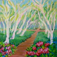 © Pam Van Londen 2007 Rhodies and Aspens 8x8 acrylic on canvas