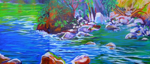 © Pam Van Londen 2008 Santiam River Fish Habitat 3 of 6 panels each 16x20x.7 in acrylic on gallery-edged canvas