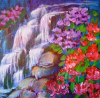 © Pam Van Londen 2007 Waterfall and Rhodies 8x8 acrylic on canvas