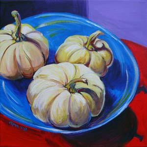 © Pam Van Londen 2008 White Pumpkins 12x12x1 in acrylic on canvas