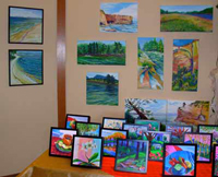 Paintings on canvas, canvasboard, and clayboard  are on sale at the UUFC Holiday Bazarre