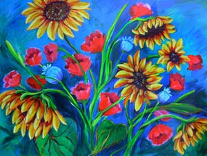 © Pam Van Londen 2009 Sunflowers and Poppies 1 40x30x1 in acrylic on gallery-edged canvas