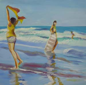 © Pam Van Londen 2008 Joy at the Beach 8x8x1 in oil on clayboard