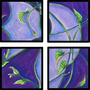 © Pam Van Londen 2008 Vines 1 polyptych 8x8x1 in iridescent oil on clayboard