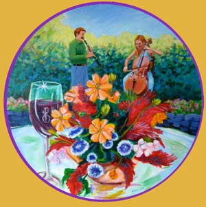 © Pam Van Londen 2009, Harvest Wine and Music, 16x16x1 on acrylic on round canvas