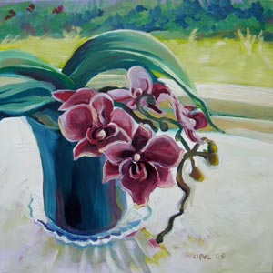 © Pam Van Londen 2009, Magenta Orchid, 8x8x1 on oil on claybord