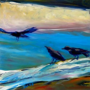 © Pam Van Londen 2009, Crows on the Beach 1, oil on gessobord, 8x8x1