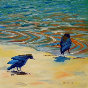 © Pam Van Londen 2009, Crows on the Beach 3, oil on gessobord, 8x8x1