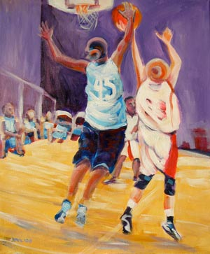 © Pam Van Londen 2009, Junior Stars of Basketball 3: 45 checks 33, acrylic on gallery-edged canvas, 16x20x1