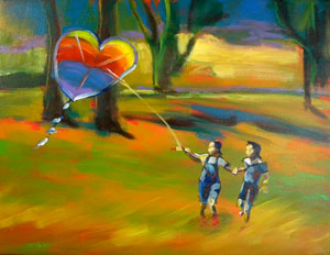 "© Pam Van Londen 2010 ""The Kite Flyers"" acrylic on 18x14-inch gallery-edged canvas."
