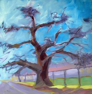© Pam Van Londen 2010,  Oak Tree, oil on gessoboard,  8x8
