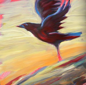 © Pam Van Londen 2010,  Crow on the Beach 4, oil on clayboard,  8x8