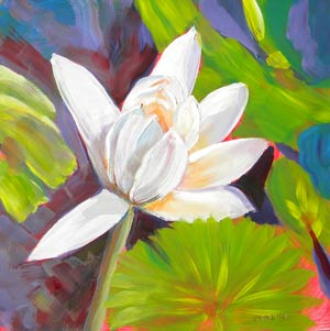 © Pam Van Londen 2010,  Inspiration Lily Pad, oil on clayboard,  8x8