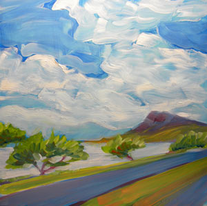 © Pam Van Londen 2010,  Farrington Hwy Kapolei, Hawaii, oil on clayboard,  8x8