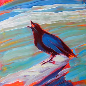 © Pam Van Londen 2010,  Crow at the Beach 10, oil on claybord,  8x8