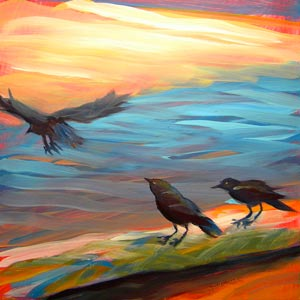 © Pam Van Londen 2010, Crows on the Beach 11, oil on claybord, 8x8
