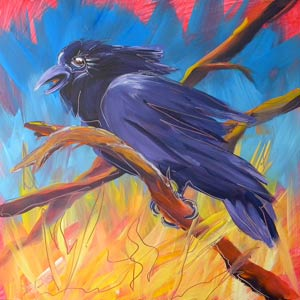 © Pam Van Londen 2010,  Crow in the Grass 5, oil on claybord,  8x8
