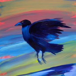 © Pam Van Londen 2010,  Crow at the Beach 13, oil on claybord,  8x8