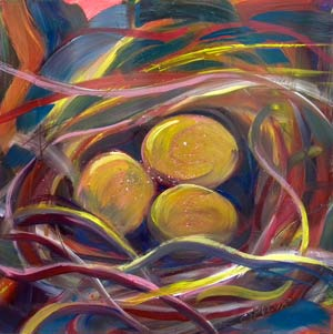 © Pam Van Londen 2010,  Nest of Prosperity 5, oil on claybord,  8x8