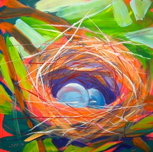 © Pam Van Londen 2010,  Nest of Prosperity 6, oil on claybord,  8x8